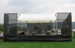 outdoor sound stage set up and ready