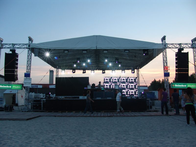 Outdoor event stage at sunset